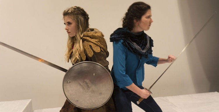 Tilly, left, played by Emily Ericson, and Agnes, played by Abigail St. John, perform in the Theatre USA production of 'She Kills Monsters.'