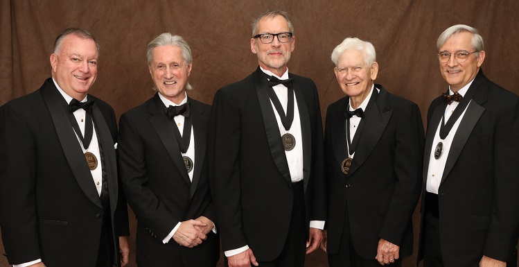 Recognized at the 14th annual Distinguished Alumni and Service Awards gala were, from left, Stephen Erwin Clements, '78; Dr. Joseph I. Molyneux, '70; Dr. Thomas M. Miller, '77, MD '81; Thomas Joe Purvis, '74; and Christopher C. Melton, '81.