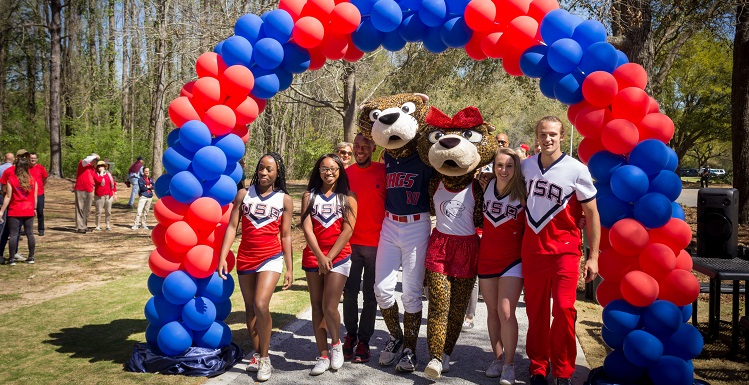 The University of South Alabama on Thursday dedicated the Jag Fitness Trail, a 1.5 mile path that includes three exercise stations.
