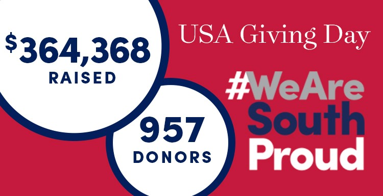 The University of South Alabama community banded together to show that they are #SouthProud during the inaugural USA Giving Day on Thursday, March 22. During the 24-hour fundraising initiative, a total of $364,368 was raised from 957 donors to support Student Success, Excellence in Health Care, USA Athletics and the MacQueen Alumni Center.