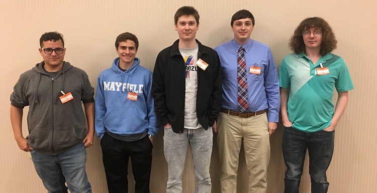 South computing students, from left, Luke Madison, Kane Hollingsworth, Chase Helms, Brett Graves and Seth Benson will compete in the third annual Department of Energy Cyber Defense Competition.