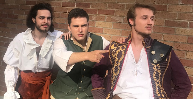 "USA students, from left, Michael Tanner, Thomas Jefferson Deen IV and Parker McGee prepare for Theatre USA's production of Shakespeare's ""Pericles,"" which opens Friday at 7:30 p.m. data-lightbox='featured'"