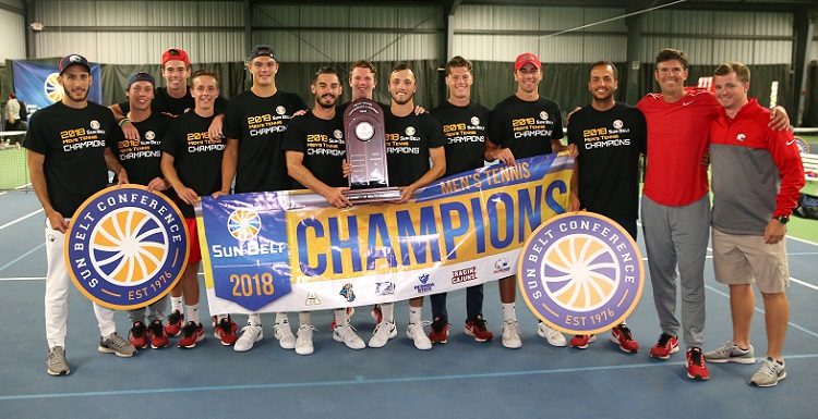The University of South Alabama men's tennis team dominated singles to take the Sun Belt Conference Championship.