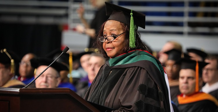 Bettye R. Maye, a longtime member of South's Board of Trustees and an advocate for education, told graduates to direct their lives, even if the direction isn't always perfect.