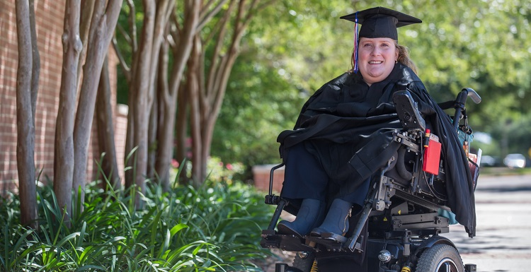 Jennifer Oveson attended the University of South Alabama part-time and overcame obstacles due to spina bifida to earn her bachelor's degree.