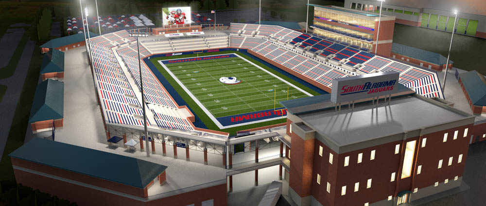 Plans for a football stadium on South's campus includes seating for 25,000 and an end zone terrace with high-top tables. South's Board of Trustees authorized site work on Friday.