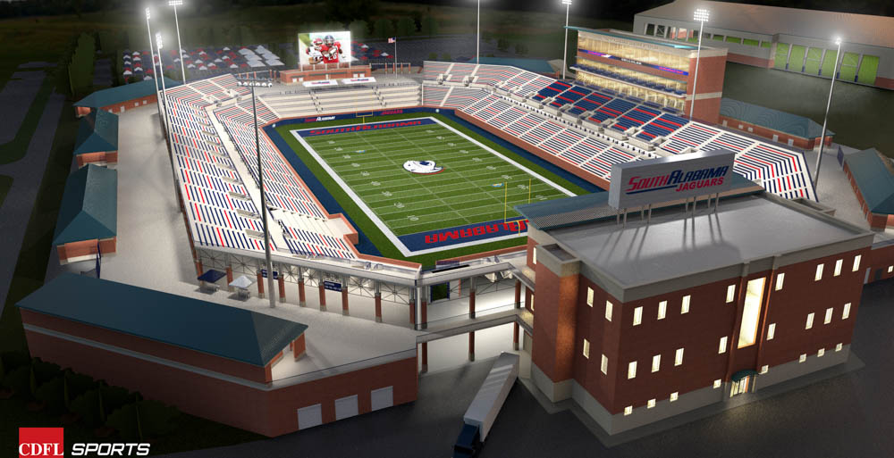 Plans for a football stadium on South's campus includes seating for 25,000 and an end zone terrace with drink rails and possibly bistro-style tables.  data-lightbox='featured'