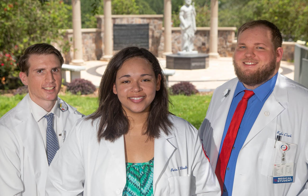 From left, Michael Marfice, Perrin Windham and Kyle Clark are the inaugural recipients of a Blue Cross and Blue Shield Scholarship aimed at improving health care in underserved areas.