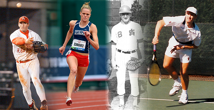 Former Jaguar athletes, from left,  David Freese, Lindsay Schwartz, Ernie Rosseau and Nic Chisolm will be inducted this fall to the USA Athletic Hall of Fame.