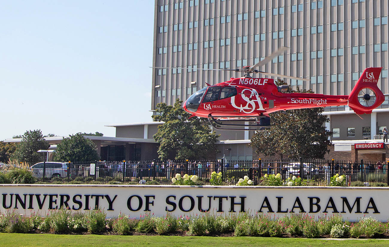 SouthFlight emergency air service represents a partnership between USA Health and Air Methods, a privately-owned air medical transport company serving 48 states.
