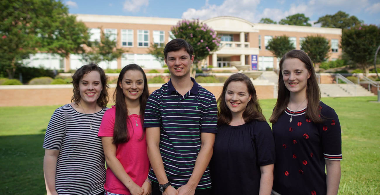 The Zimlich quintuplets, from left, Amelia Rose, Isabella, Shipley, Sophia and Hallie, were born in 1999 at the University of South Alabama Children's & Women's Hospital. This August, they will join the Class of 2022 at South.
