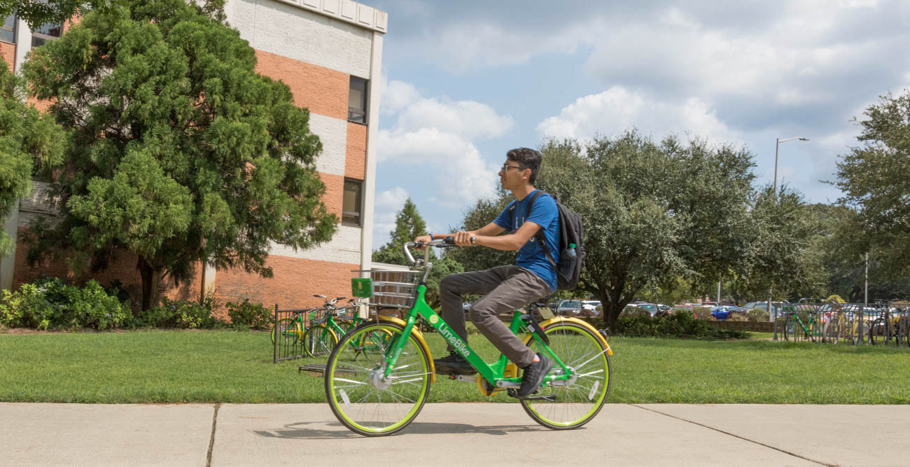 Lime bikes start at fifty cents a ride for South students and employees and can be accessed using the Lime app. The bikes are in downtown Mobile in addition to on campus.  data-lightbox='featured'