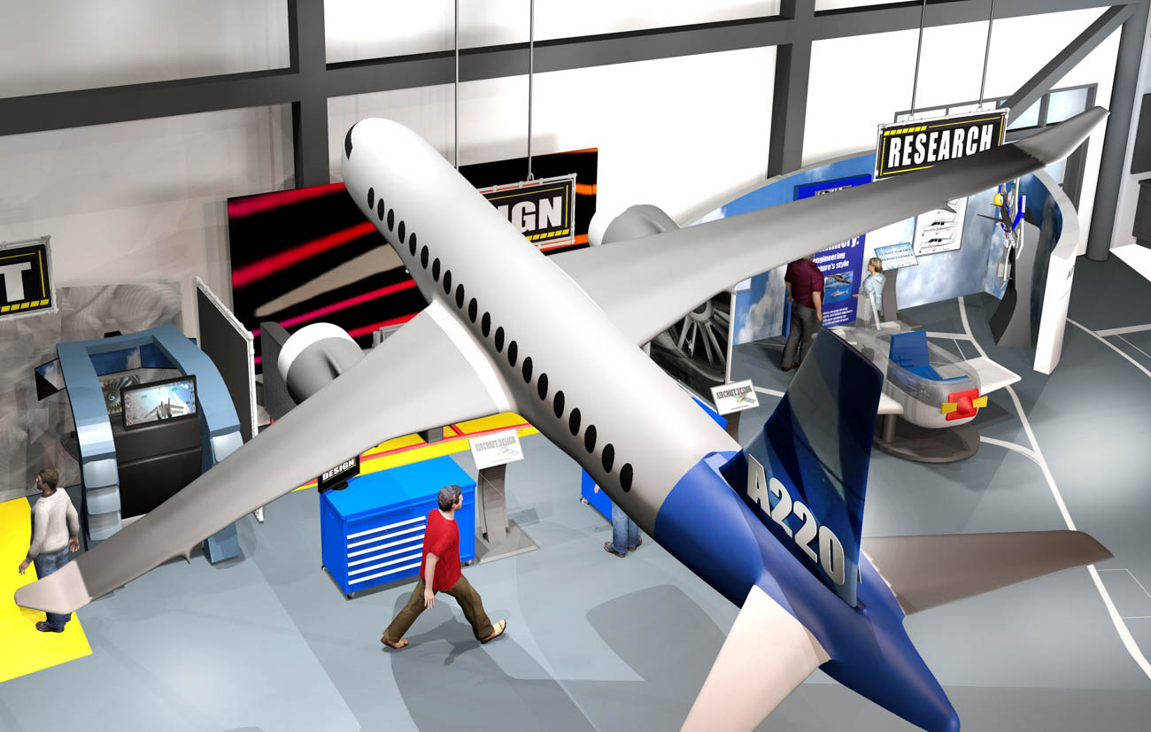 Above is a rendering of the Flight Works Alabama aviation experience center to be built next year. The University of South Alabama is partnering with Airbus to provide support in several areas.