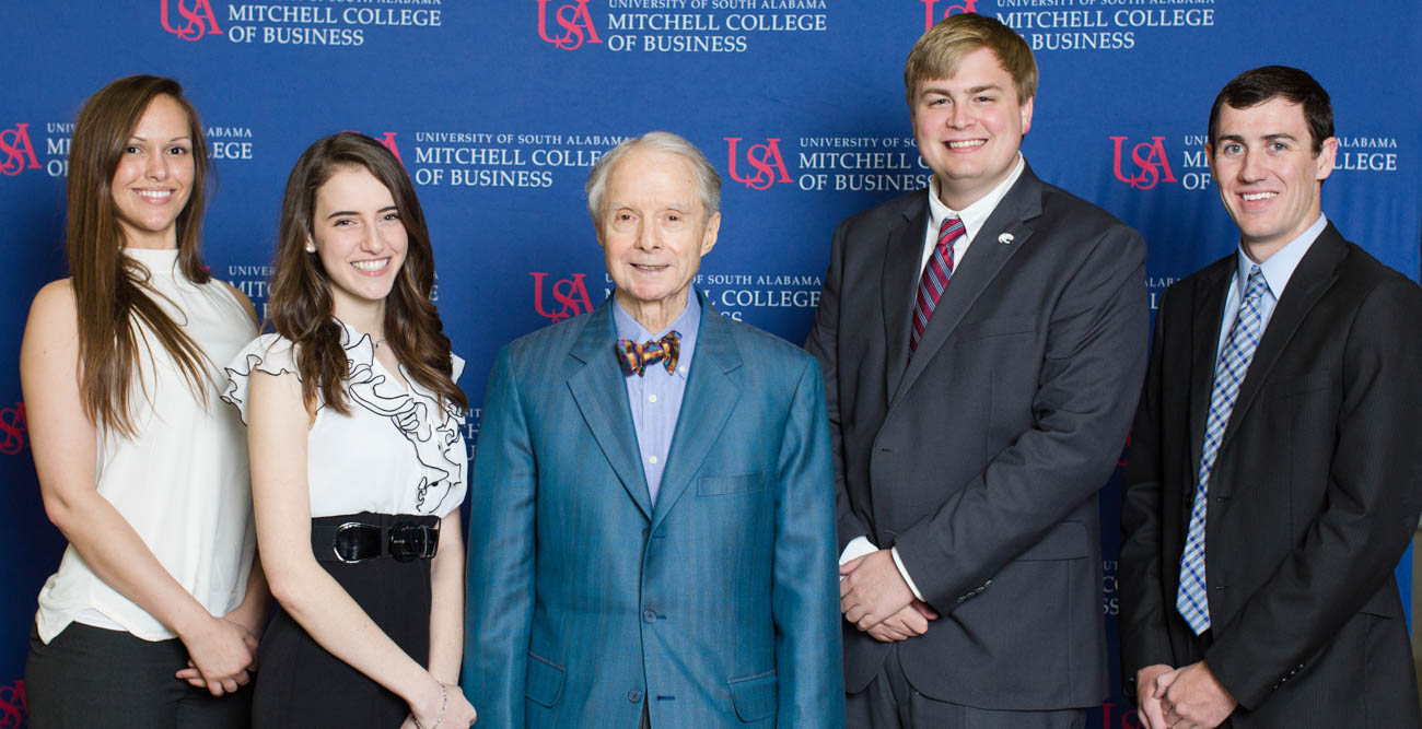 "The Mitchell Scholars Class of Spring 2018 endowed a scholarship in tribute to supporter Abraham ""Abe"" Mitchell, center, for his philanthropic efforts.Members of the Mitchell Scholars Class of Spring 2018 are, from left, Avril McRae, Lizzie Rodin, Josh Crownover and Alex Wentz. data-lightbox='featured'"