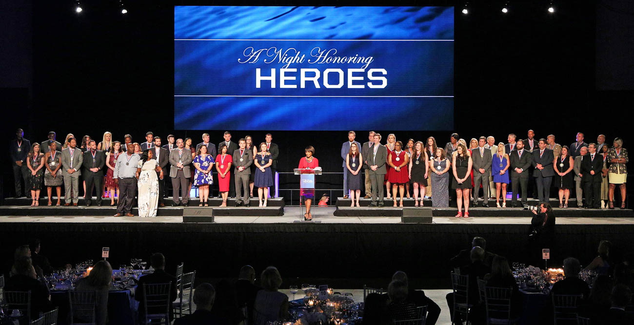 "Sixty local first responders received medals and were recognized Thursday during the gala ""A Night Honoring Heroes."" The event raises funds for the Fanny Meisler Trauma Center, the region's only Level 1 Trauma Center, at University Hospital."