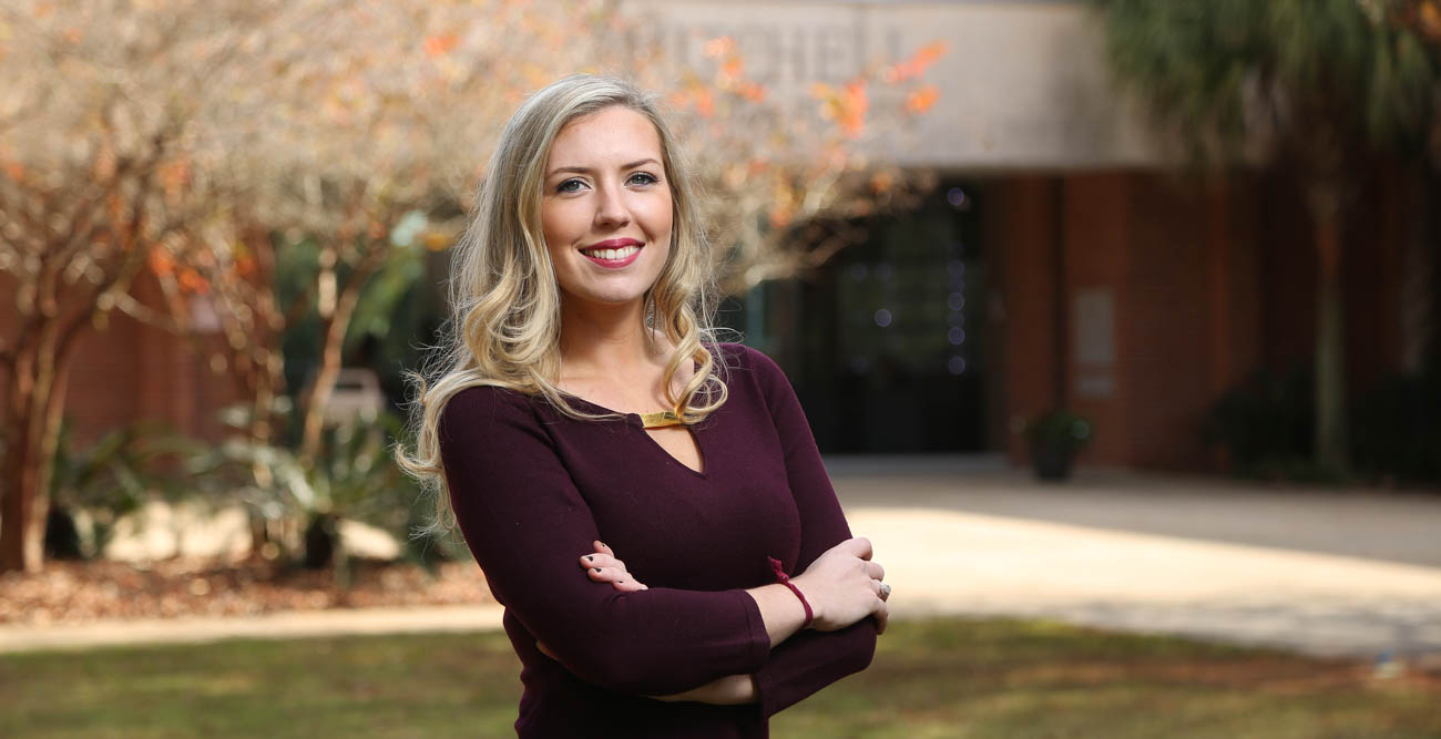 "Anna Dudley has the unique distinction of being the third generation of her family to graduate from South with an accounting degree from the Mitchell College of Business. ""It just felt right for me,"" she said of enrolling at USA.  data-lightbox='featured'"