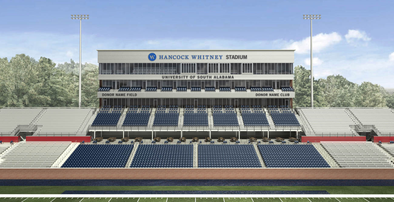 The 25,000-seat Hancock Whitney Stadium, to be completed by 2020, will be located on the west side of campus, adjacent to the Jaguar Training Center, Football Fieldhouse and football practice fields.