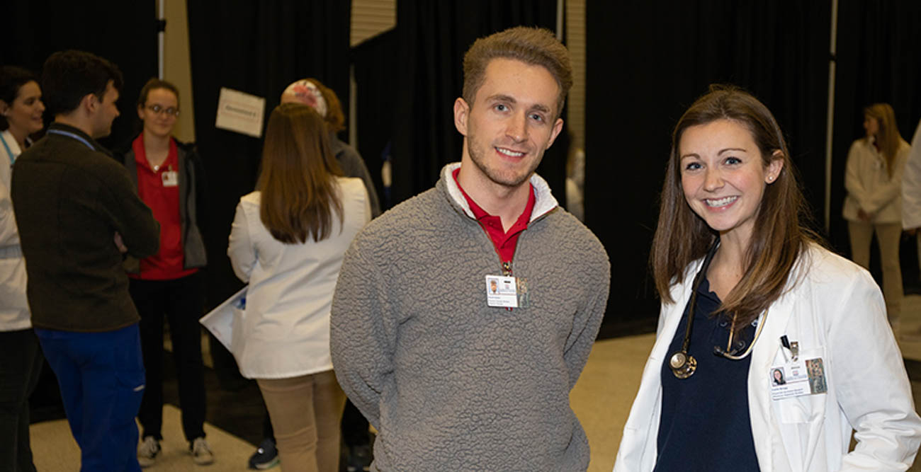 David Green, a physical therapy student, and Callie Braggs, a physician assistant student, were two of the more than 270 South volunteers to offer assistance and provide services at Project Homeless Connect.