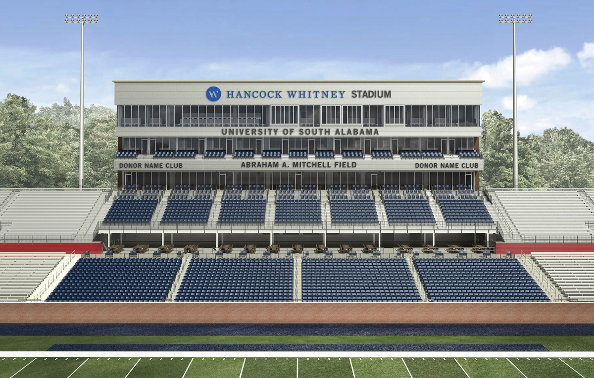 "The $5 million naming gift for Abraham A. Mitchell Field is a challenge gift that will facilitate additional donations to Hancock Whitney Stadium. ""It is my hope that others will be as inspired as I am about the future of the University of South Alabama,"" Mitchell said."