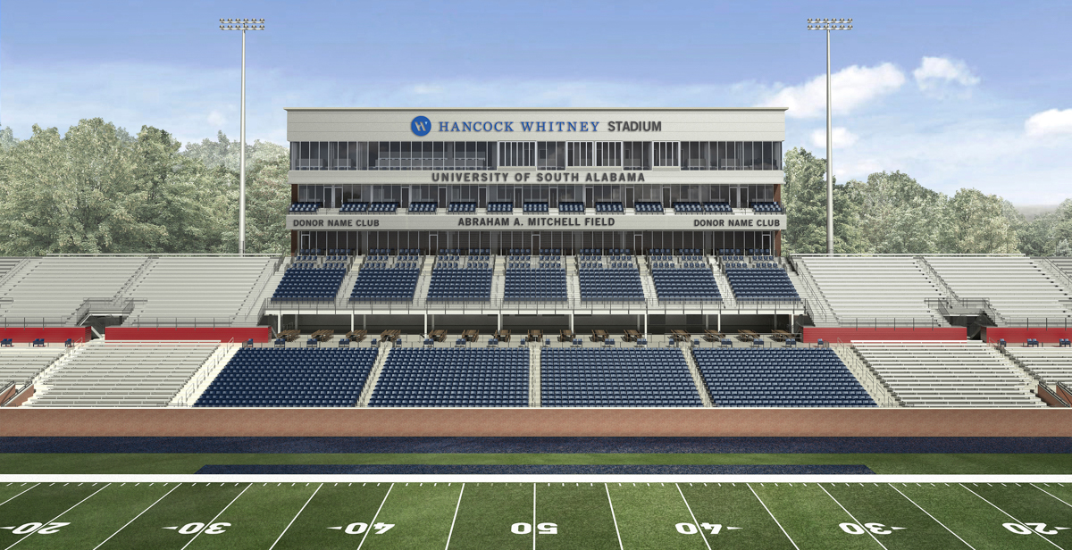 "The $5 million naming gift for Abraham A. Mitchell Field is a challenge gift that will facilitate additional donations to Hancock Whitney Stadium. ""It is my hope that others will be as inspired as I am about the future of the University of South Alabama,"" Mitchell said. data-lightbox='featured'"