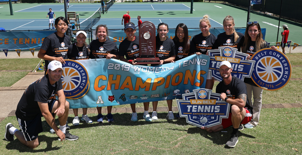 The University of South Alabama women's and men's tennis teams both took home Sun Belt championship titles. NCAA tournament selection will be held April 29. data-lightbox='featured'