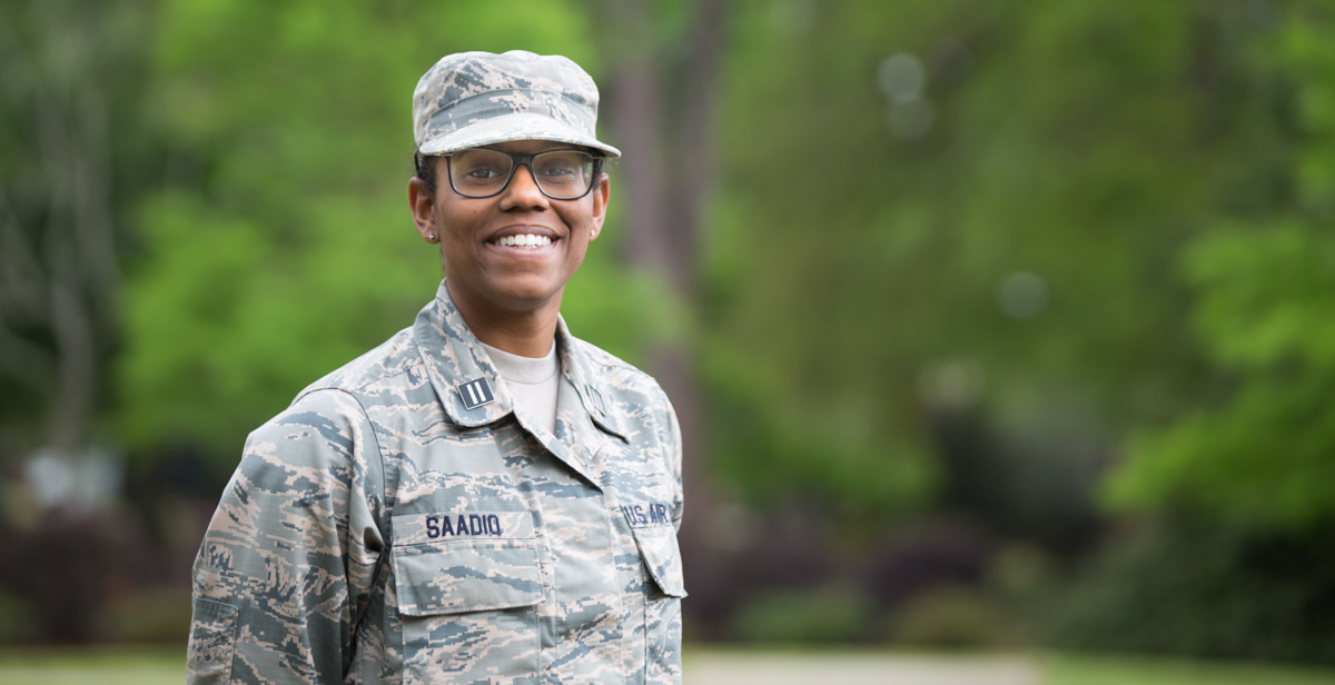 In addition to earning her degree Saturday, Khamaria Saadiq will receive the military rank of second lieutenant in the U.S. Air Force. Her first station of duty will be the University of Michigan, where she will work as a recruiter.
