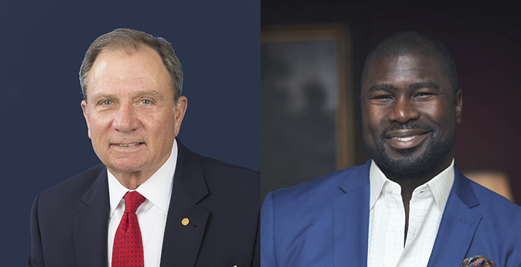 "William J. ""Happy"" Fulford, left, whose USA career spanned nearly 40 years of service in governmental relations, alumni and development, and Ovie Mughelli, a former football star whose post-NFL career has focused on empowering youth and living an ecologically friendly lifestyle, will address USA graduates during Spring Commencement ceremonies."
