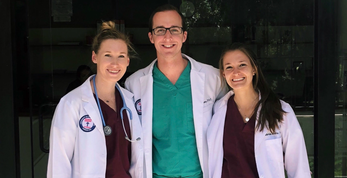 South physician assistant graduate students traveled to Peru to help treat patients at risk for cervical cancer. From left are Kaycee Villane of Gulf Breeze, Fla., Cole Stephens of Anniston, Ala., and Tori Moore of Philadelphia.