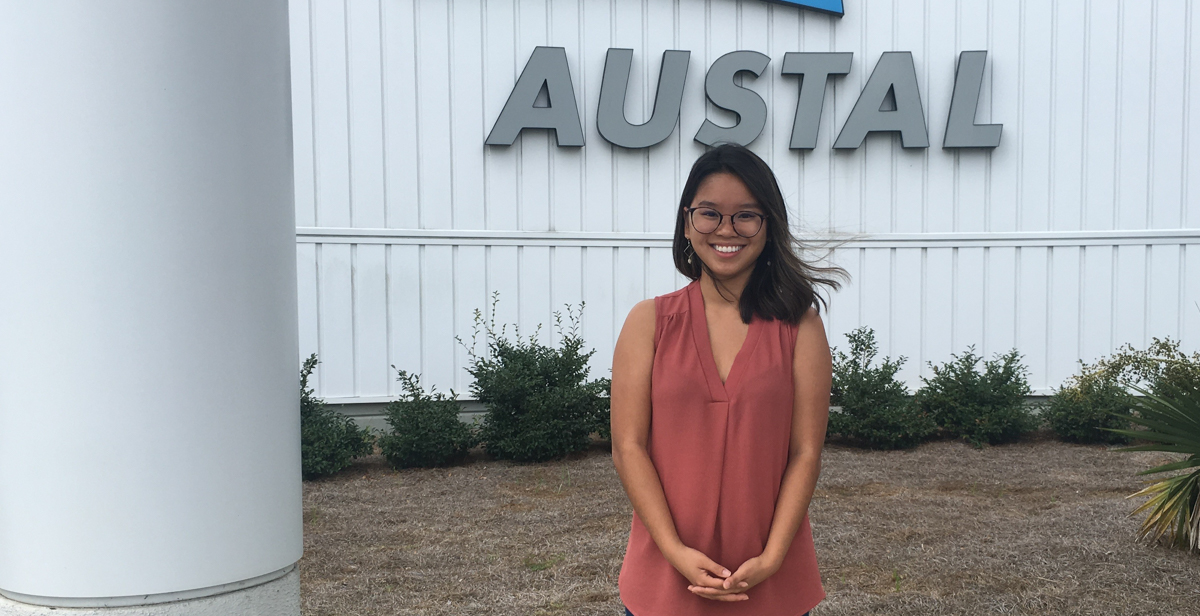 Hong Nguyen majored in finance and accounting to earn her degree in business administration at USA Mitchell College of Business. She completed three internships while at South, one at Austal USA where she now works.  data-lightbox='featured'