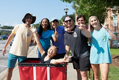 Volunteer movers showed up early and worked into the afternoon to move students into the University's 33 residence halls.