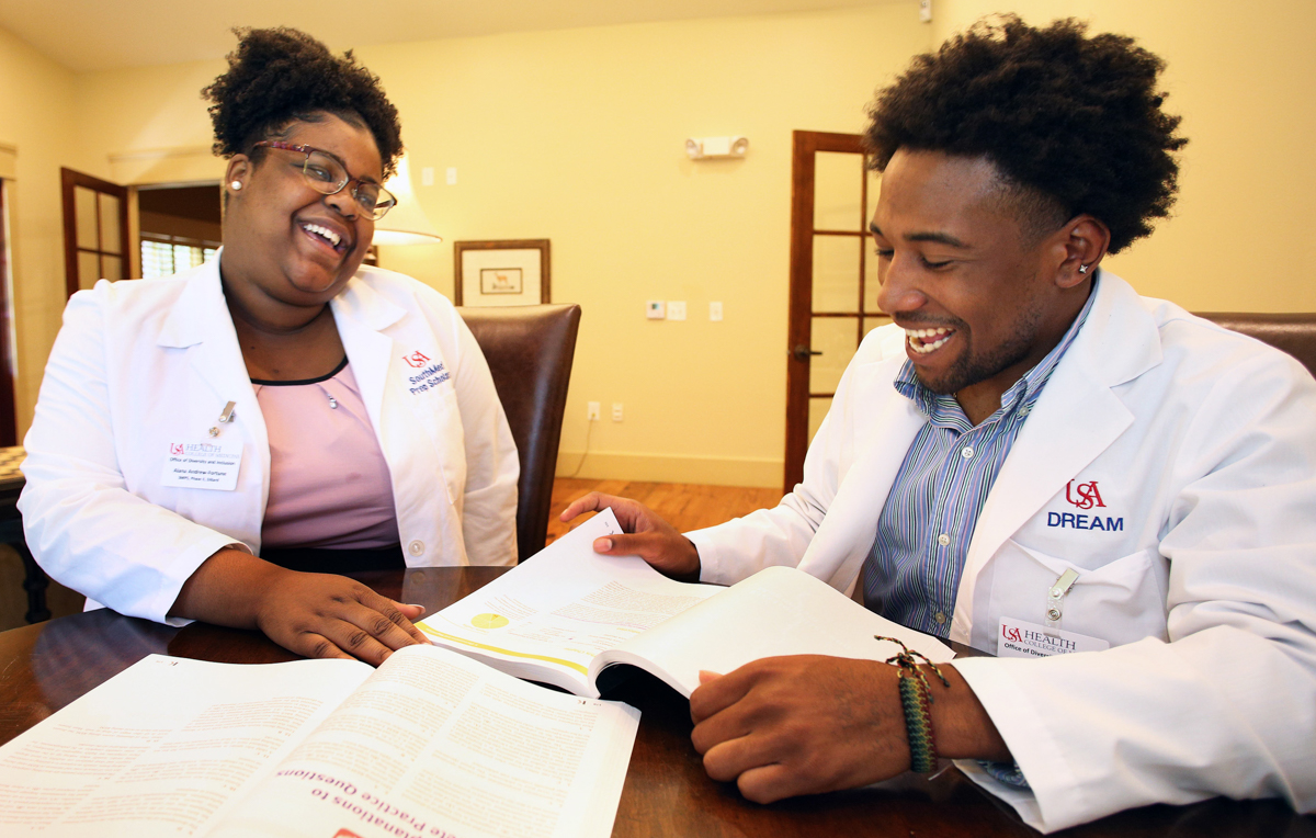 Alana Fortune of Dillard University and Trentyn Shaw of Alabama State University are participants in the USA College of Medicine's SouthMed Prep Scholars and D.R.E.A.M programs, respectively.