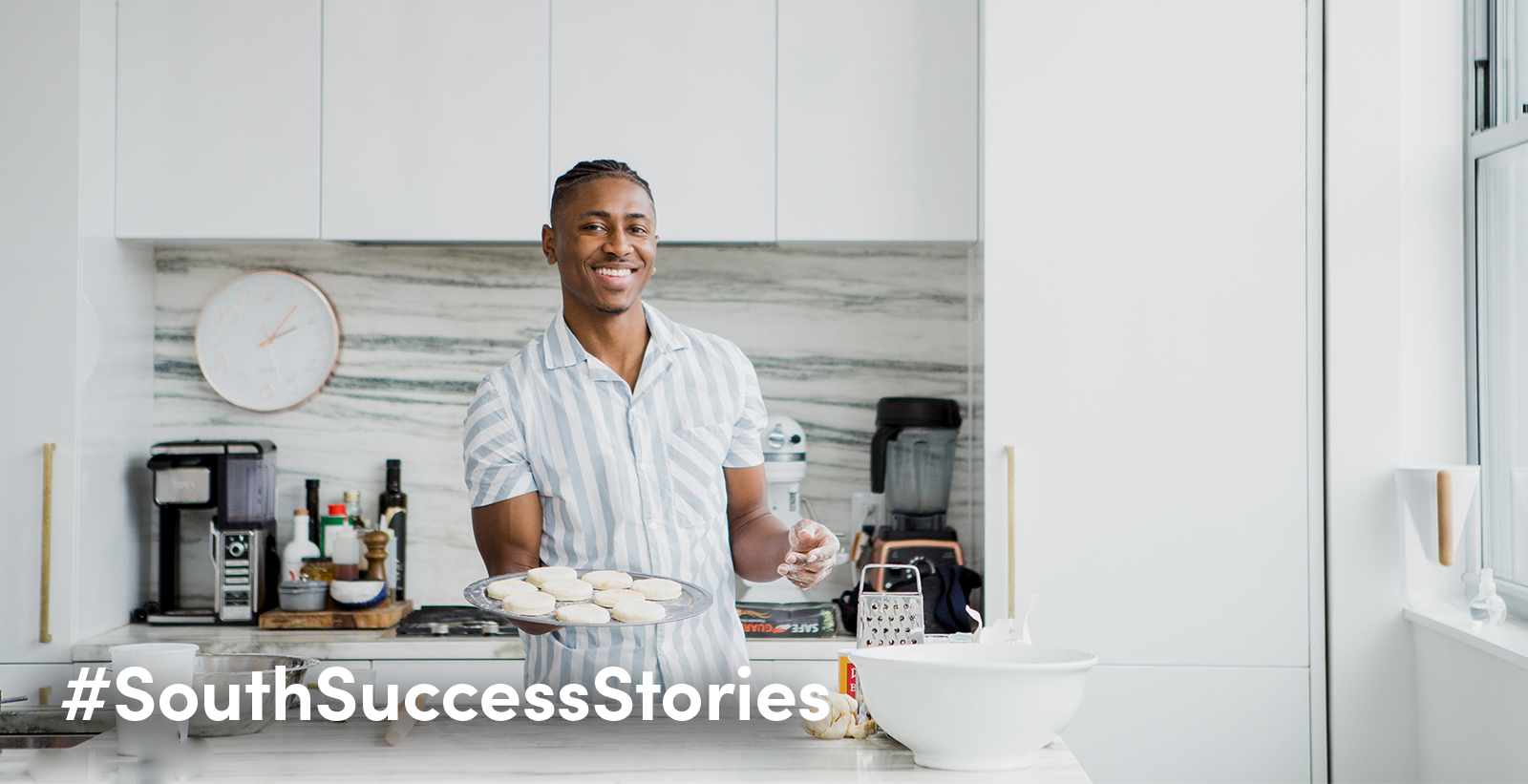 "Devin Epps, a 2018 graduate of the Mitchell College of Business, works as a food stylist on contract with the Food Network and is in the process of building his own company. ""I see myself as a storyteller, and hopefully that will translate into whatever I'm drawn to."""