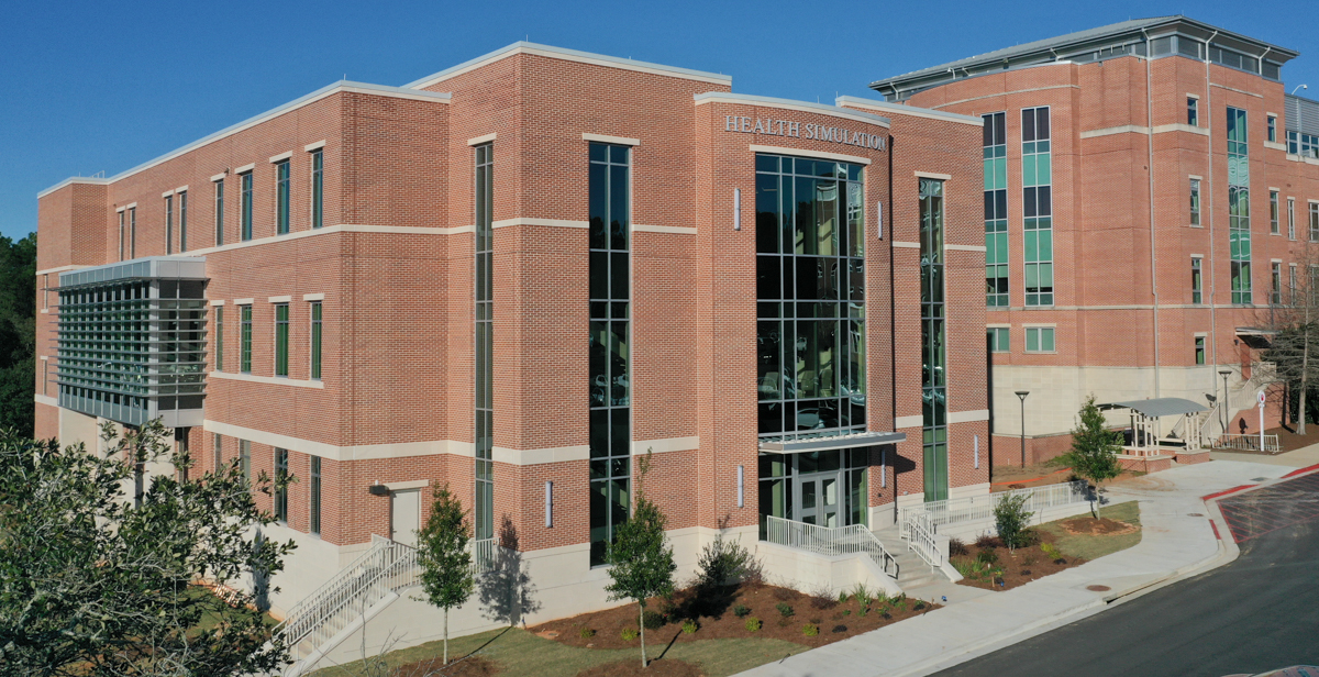 South's 39,000-square-foot Simulation Building, adjacent to the Health Sciences Building, is designed for clinical training using computerized patient simulators.