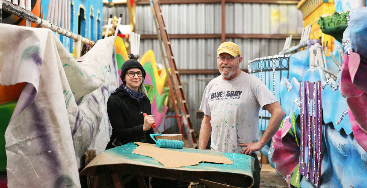 "Vanessa Quintana is one of the latest South graduates to work under Steve Mussell, right, designing and building Carnival floats. ""Steve tells me to put on my Mardi Gras goggles. He wants me to look at a float like someone would at a parade."""