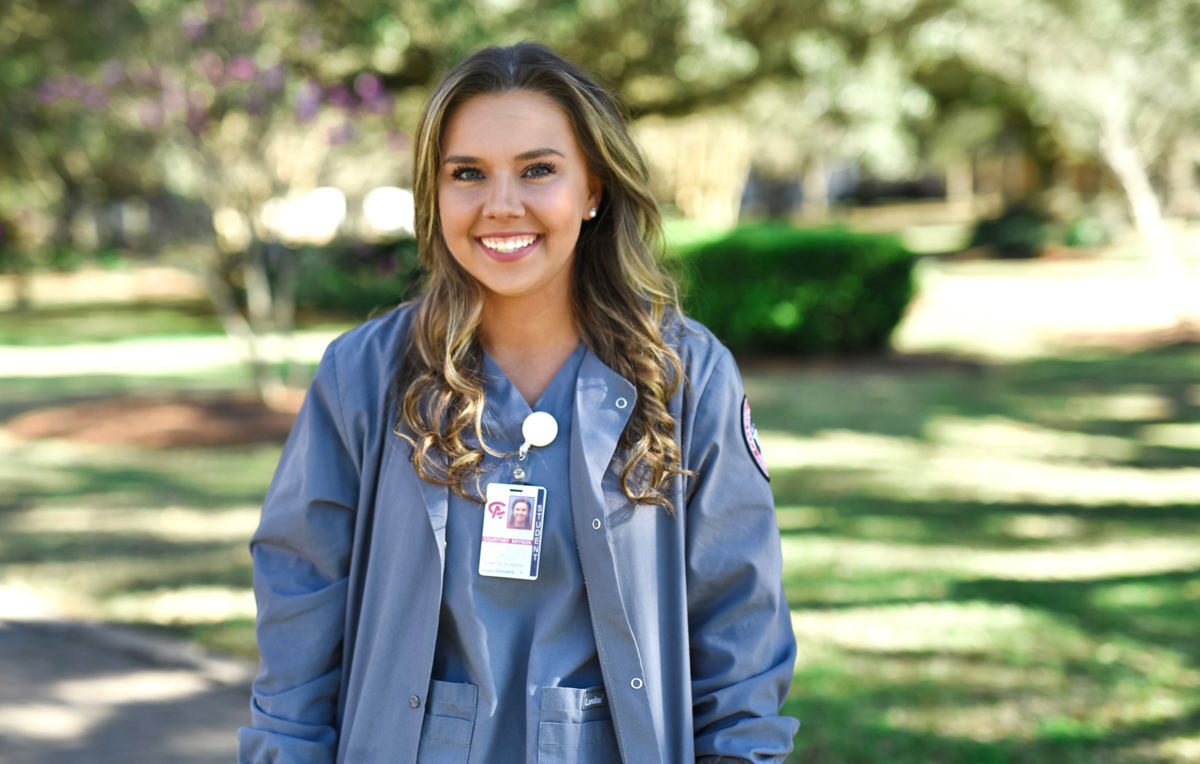 Courtney Bryson, who is completing her clinical work to become a registered nurse and earn an associate degree from Coastal Alabama Community College, is already taking online classes at the University of South Alabama toward a Bachelor's of Science in nursing.