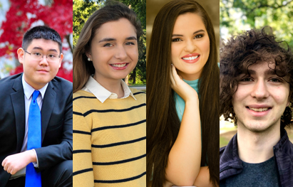 USA is home to four of the seven Alabama students selected as 2020 Goldwater Scholars. From left, Richard Fu, Hannah Giannini, Samantha Michlowitz and John Pomerat.