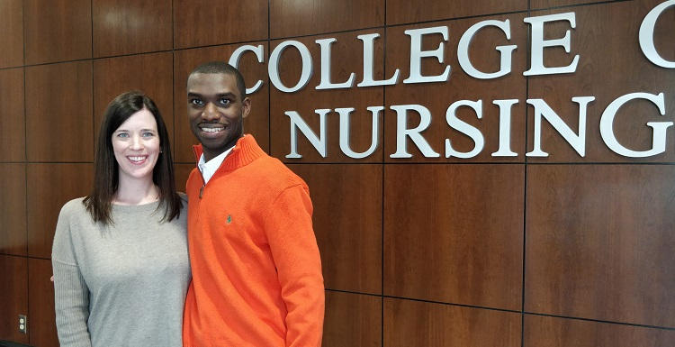 Barry Coleman, who endowed a scholarship in grandmother's name, becoming one the youngest major gift donors to the College of Nursing, earlier this semester met the scholarship's first recipient, Jennifer Dowling.