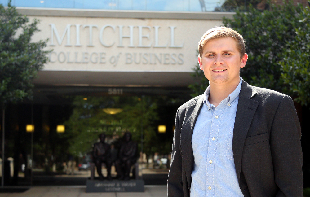 "Jack Stover, a summer graduate completing a double major in international business and Spanish, has kept an active schedule during his time at the University of South Alabama. ""My extracurricular activities have been just as important to me as my academic work,"" he says."
