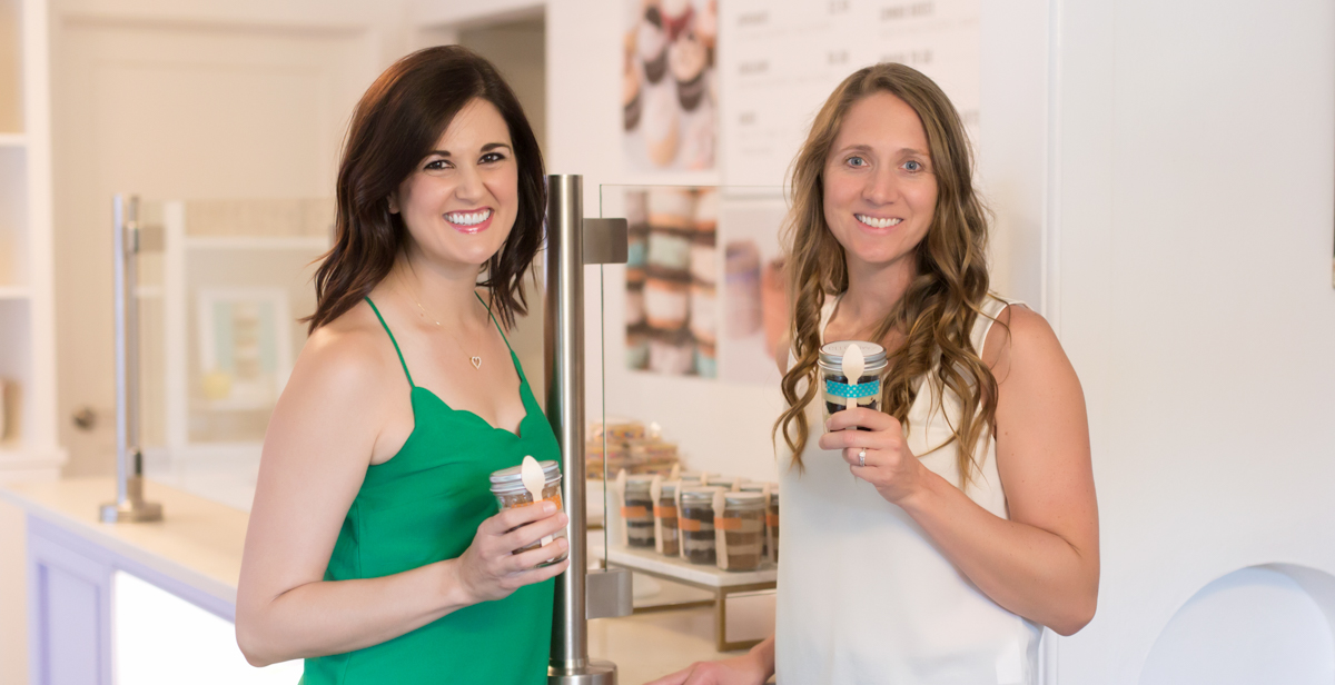 Jennifer Conrad, left, a University of South Alabama graduate, and Lauren Kapeluck own ellenJAY, a boutique bakery in Midtown Mobile. The two have taken part in South's Real Advice Mentoring Program, RAMP, for help with business planning and growth strategy.
