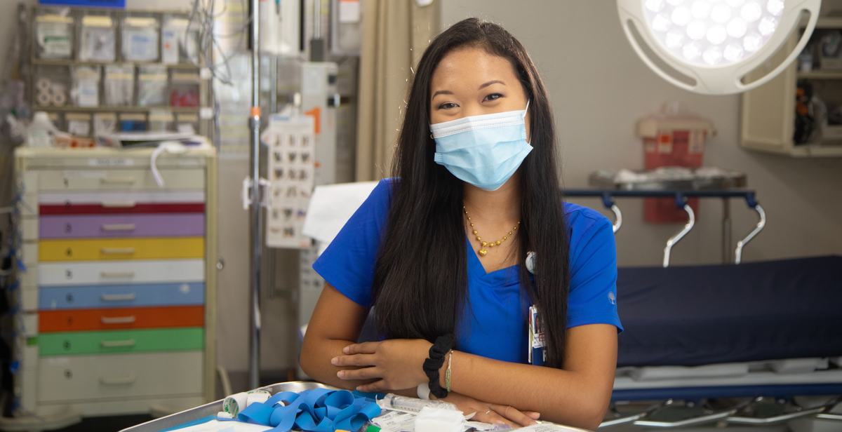 Serena Thidasongsavanh works as a nurse in the emergency department at USA Health University Hospital. Compared with other academic medical centers in the United States, the University Hospital emergency department handles some of the most complex and challenging cases requiring the highest level of care.