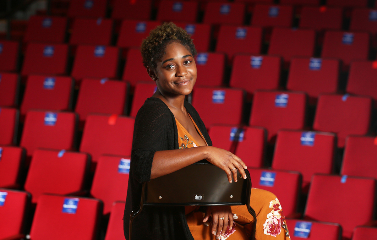 "Jhalana Jones, who has performed in local theater, is studying music education at the University of South Alabama. ""We have this teacher, Dr. Thomas Rowell, who is a hoot-and-a-half. He lets us know we're not just his students, we're his people."""