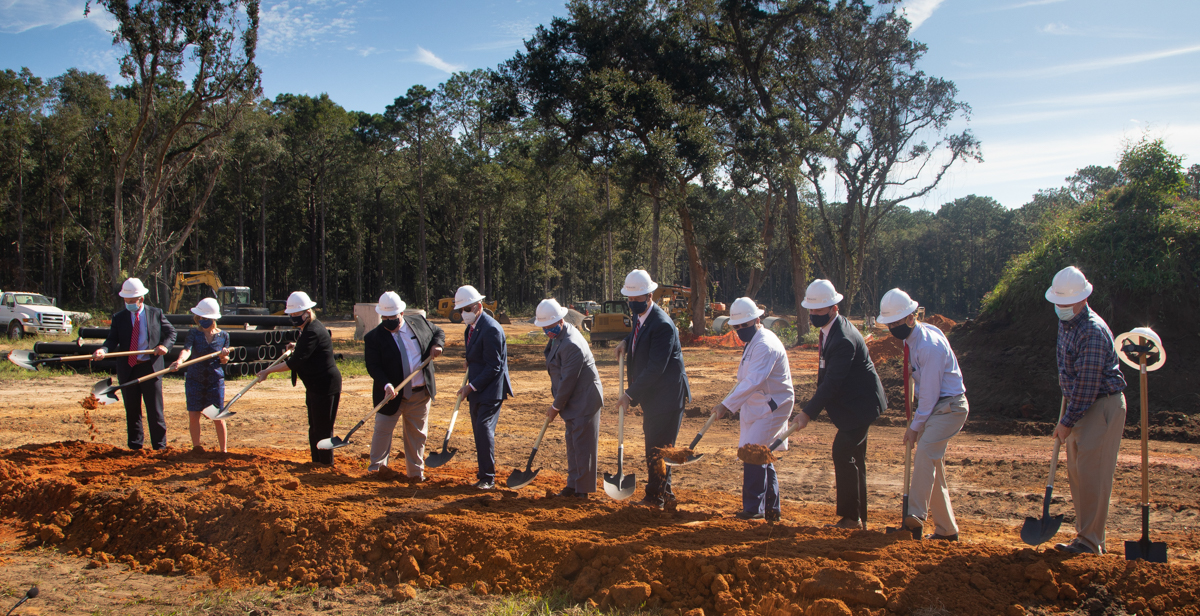 "USA Health and University leaders hold a groundbreaking ceremony Wednesday for a new freestanding emergency department adjacent to South's academic campus. ""In addition to providing advanced emergency care, this facility also will support our mission to train the next generation of healthcare providers,"" said Dr. Tony Waldrop, University president."