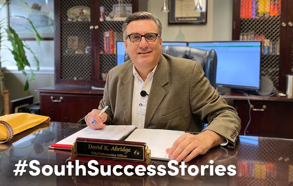 David K. Akridge, chief information officer for the Mobile County Public School System, said support from faculty, determination and a music scholarship led to his degree in computer and information sciences from the University of South Alabama.