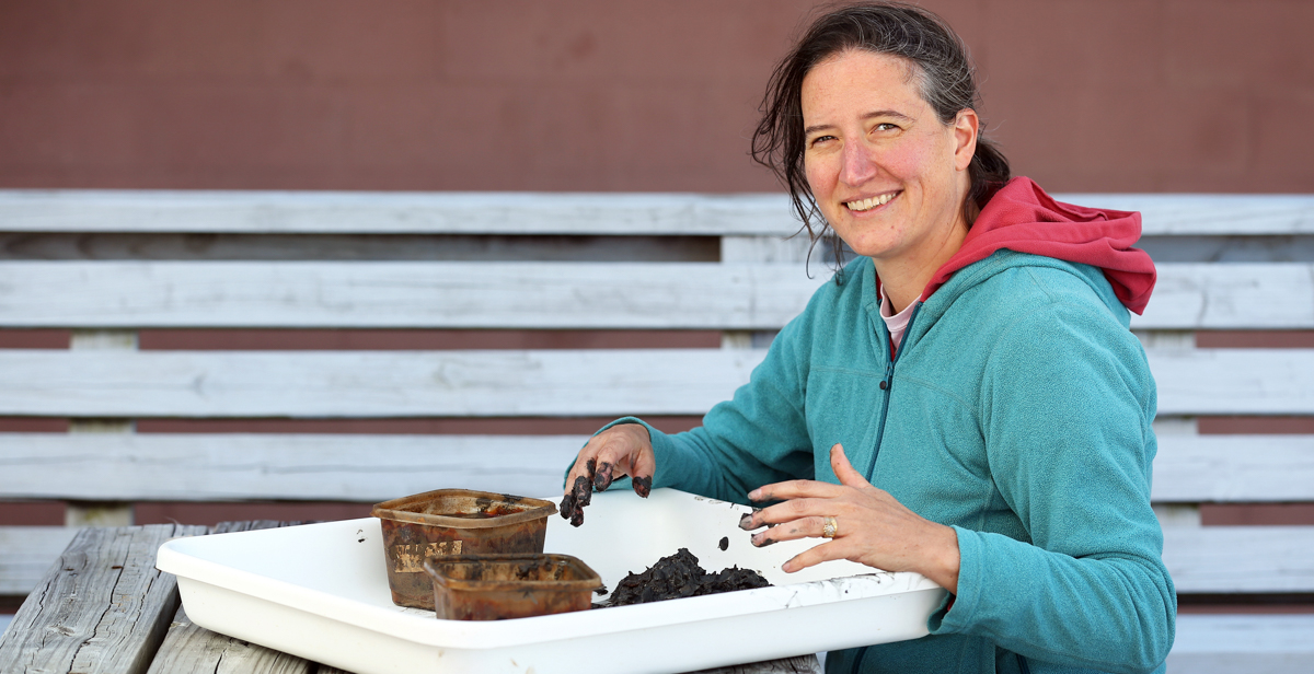 Dr. Kelly Dorgan, an associate professor of marine science at the University of South Alabama, studies worms and their impact on marine sediment.