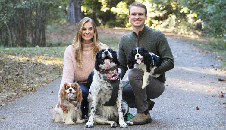 Bailey Trout Stephenson's family gave her the love and support she needed while caring for COVID-19 patients in New York. From left are Bailey, her dogs, Diana, Pete and Clark, and her husband, Jack Stephenson.