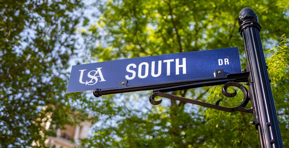 University of South Alabama street sign.