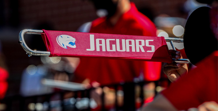 Seven members of the Jaguar Marching Band have been chosen by College Band Directors National Association to participate in a virtual halftime performance at the College Football National Championship game.