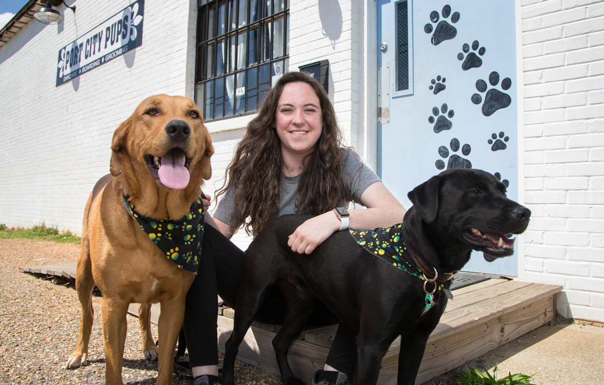 "Port City Pups owner Bailey Duos, who graduated from South's entrepreneur program last year, had to adjust expectations when dog boarding dried up during the pandemic. ""I definitely matured really fast. I'm a little more careful now,"" she said."