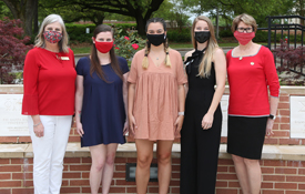 From left are Cathi Jones, assistant director of Fraternity and Sorority Life for USA, Alpha Chi Omega Sorority; 2020-2021 College Panhellenic President Payton Parnell,  Alpha Gamma Delta Sorority; 2019-2020 College Panhellenic President Kat Crochet, Alpha Omicron Pi Sorority; 2018-2019 College Panhellenic President Grace Galvin McArdle, Kappa Delta Sorority; NPC Area Advisor Betty Quick, Gamma Phi Beta Sorority;  Not pictured: USA Development Officer Aimee Meyers, College of Education and Professional Studies, Global USA,  Alpha Omicron Pi Sorority.