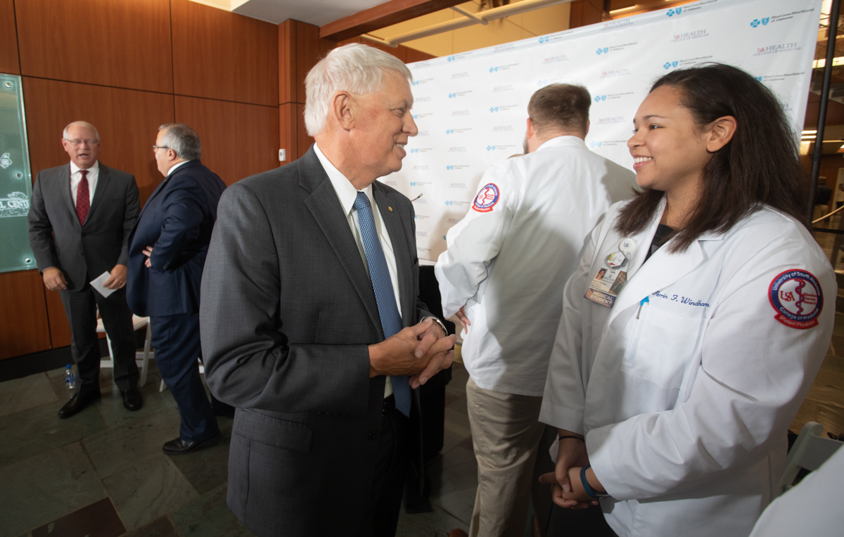 Dr. Tony Waldrop takes part in a 2019 announcement about a new College of Medicine scholarship program funded by Blue Cross and Blue Shield of Alabama.